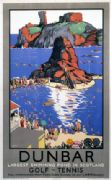 Dunbar, Largest Swimming Pool in Scotland. Vintage Scottish Railway Travel Poster